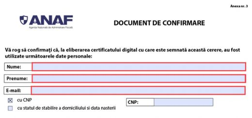 Documentul de confirmare ANAF